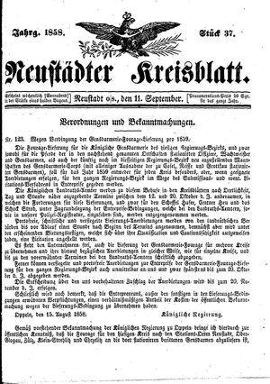 Neustädter Kreisblatt vom 11.09.1858