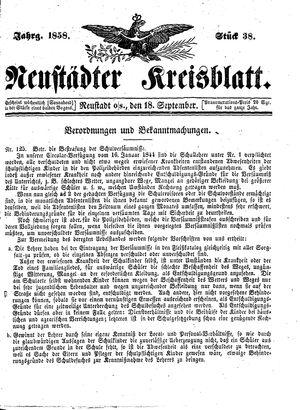 Neustädter Kreisblatt vom 18.09.1858