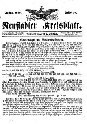 Neustädter Kreisblatt vom 02.10.1858