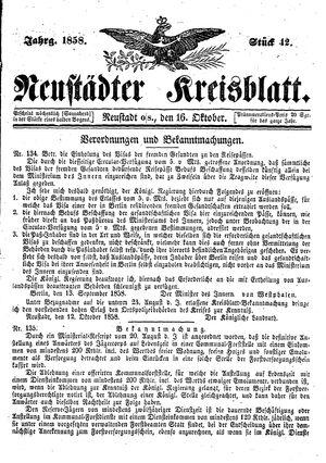 Neustädter Kreisblatt vom 16.10.1858
