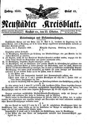 Neustädter Kreisblatt vom 23.10.1858