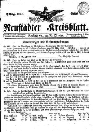Neustädter Kreisblatt vom 30.10.1858