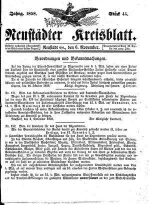 Neustädter Kreisblatt vom 06.11.1858