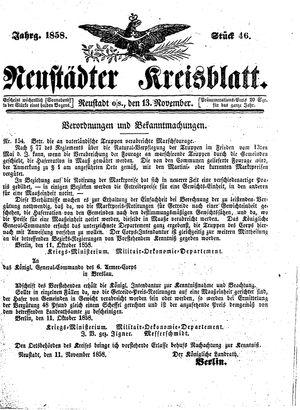 Neustädter Kreisblatt vom 13.11.1858
