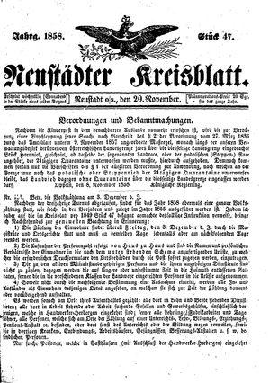 Neustädter Kreisblatt vom 20.11.1858