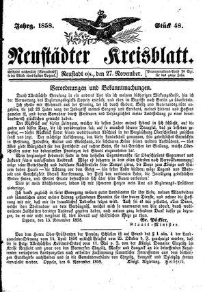 Neustädter Kreisblatt vom 27.11.1858