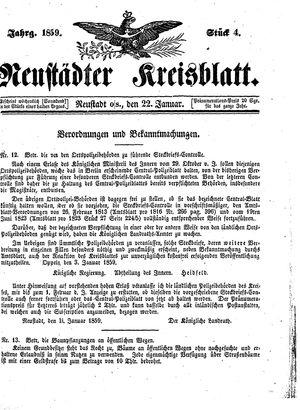 Neustädter Kreisblatt vom 22.01.1859