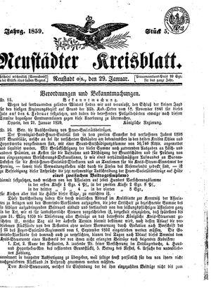Neustädter Kreisblatt vom 29.01.1859