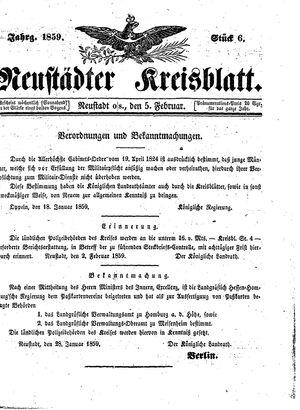 Neustädter Kreisblatt vom 05.02.1859