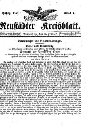 Neustädter Kreisblatt vom 12.02.1859