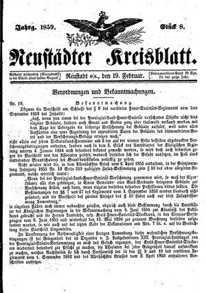 Neustädter Kreisblatt vom 19.02.1859