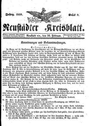 Neustädter Kreisblatt vom 26.02.1859