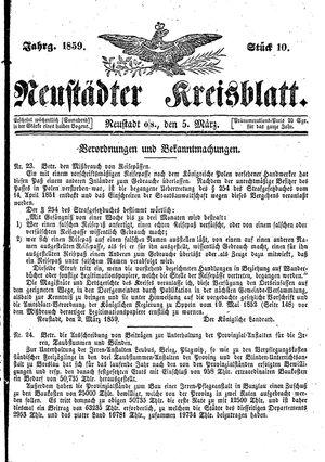 Neustädter Kreisblatt vom 05.03.1859