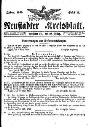 Neustädter Kreisblatt vom 19.03.1859