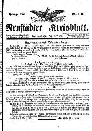 Neustädter Kreisblatt vom 02.04.1859