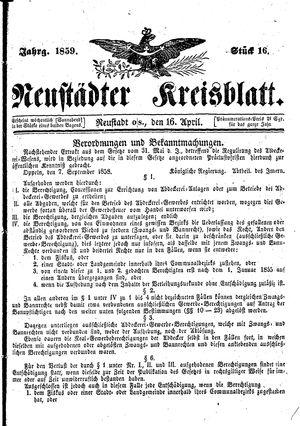 Neustädter Kreisblatt vom 16.04.1859