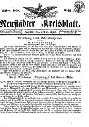 Neustädter Kreisblatt on Apr 23, 1859