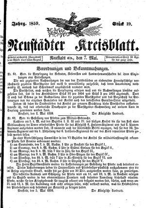 Neustädter Kreisblatt vom 07.05.1859