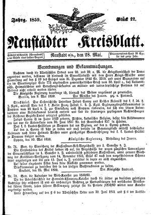 Neustädter Kreisblatt vom 28.05.1859