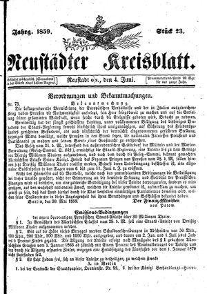 Neustädter Kreisblatt vom 04.06.1859