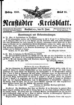 Neustädter Kreisblatt vom 18.06.1859