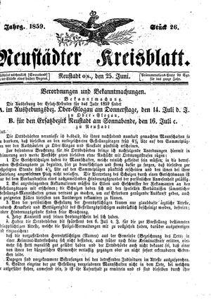 Neustädter Kreisblatt vom 25.06.1859