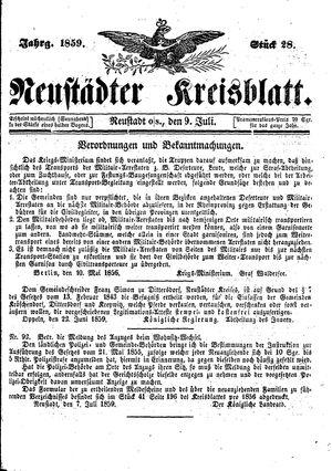 Neustädter Kreisblatt vom 09.07.1859