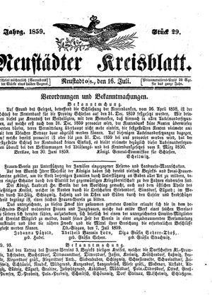 Neustädter Kreisblatt vom 16.07.1859