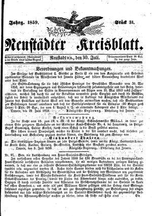 Neustädter Kreisblatt vom 30.07.1859