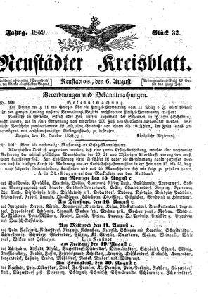 Neustädter Kreisblatt vom 06.08.1859