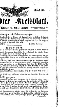 Neustädter Kreisblatt vom 13.08.1859
