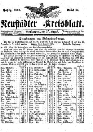 Neustädter Kreisblatt vom 27.08.1859