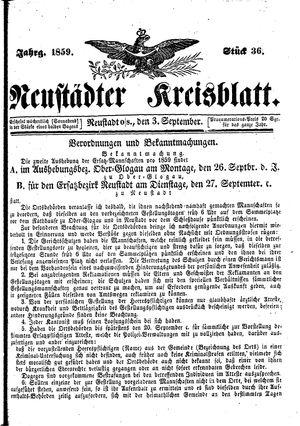 Neustädter Kreisblatt vom 03.09.1859