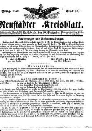 Neustädter Kreisblatt vom 10.09.1859