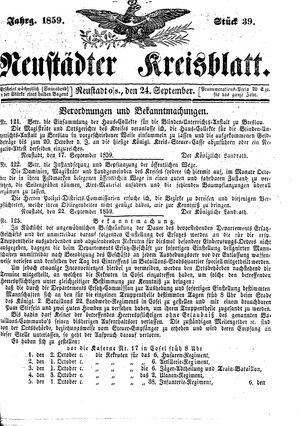 Neustädter Kreisblatt vom 24.09.1859