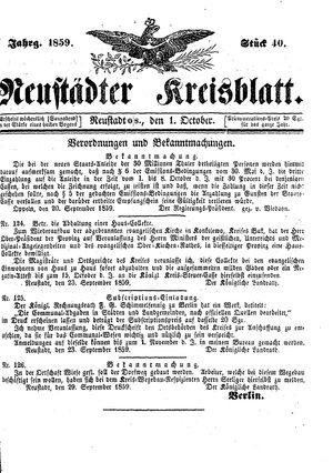 Neustädter Kreisblatt vom 01.10.1859