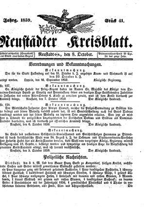 Neustädter Kreisblatt vom 08.10.1859