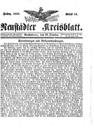 Neustädter Kreisblatt vom 28.10.1859