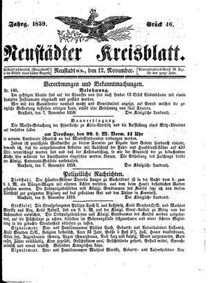 Neustädter Kreisblatt vom 12.11.1859