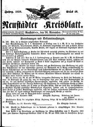 Neustädter Kreisblatt vom 26.11.1859
