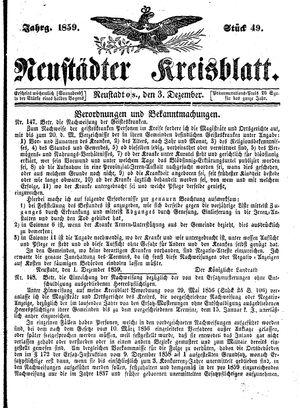 Neustädter Kreisblatt on Dec 3, 1859