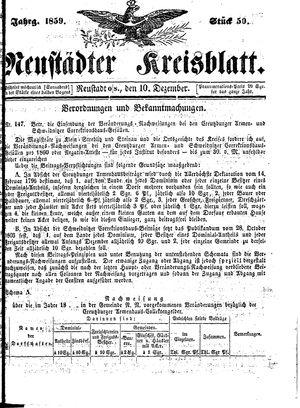 Neustädter Kreisblatt vom 10.12.1859