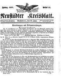 Neustädter Kreisblatt (23.06.1860)