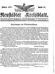 Neustädter Kreisblatt (22.09.1860)