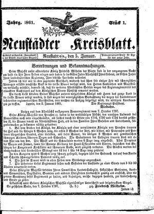 Neustädter Kreisblatt vom 05.01.1861