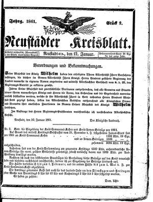 Neustädter Kreisblatt vom 12.01.1861