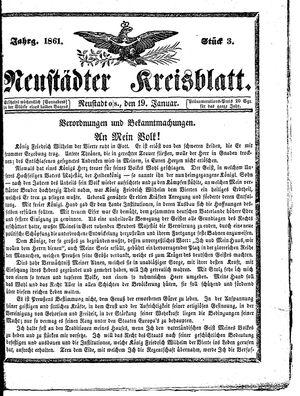 Neustädter Kreisblatt on Jan 19, 1861