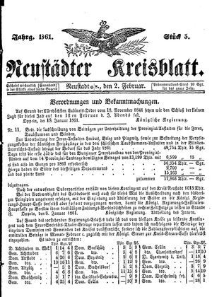 Neustädter Kreisblatt vom 02.02.1861
