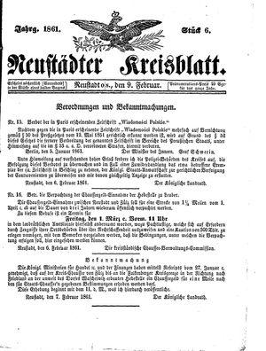 Neustädter Kreisblatt on Feb 9, 1861
