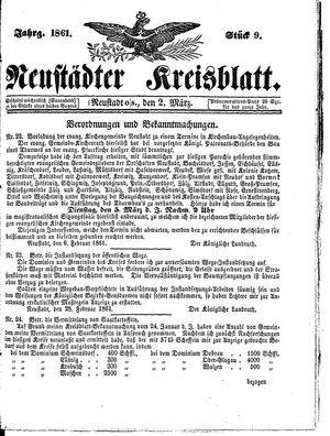 Neustädter Kreisblatt on Mar 2, 1861
